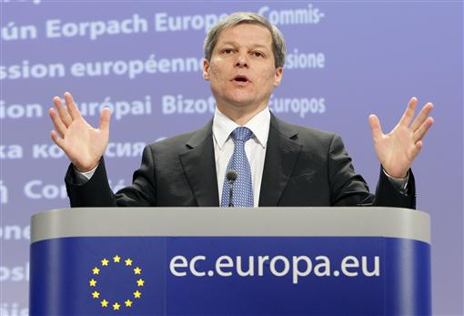 European Commissioner in charge of Agriculture Dacian Ciolos gestures during a news conference at the EC's Headquarters in Brussels April 12, 2010. Ciolos is launching a public debate on the future of the Common Agriculture Policy (CAP). REUTERS/Sebastien Pirlet (BELGIUM - Tags: POLITICS AGRICULTURE)