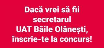 Au mai rămas 7 zile. Primăria Băile Olănești are nevoie de un secretar al orașului. Citește condițiile de înscriere!